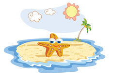 Starfish cartoon posing at the beach Royalty Free Stock Photography