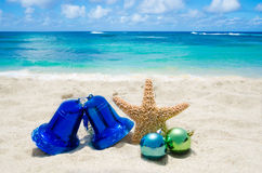 Starfish with Christmas decoration - holiday concept Royalty Free Stock Images