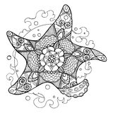 Starfish coloring book for adults vector Royalty Free Stock Image