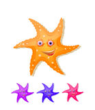 Starfish with eyes and smile icon set. Isolated on white Vector Illustration