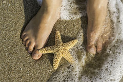 Starfish and feet on the beach Stock Photography