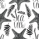 Starfish and fern leaves background Royalty Free Stock Image