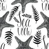 Starfish and fern leaves background. Starfish and fern leaves seamless background Royalty Free Stock Image