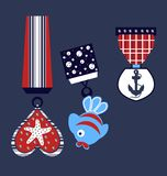 Starfish-, Fisch- und Ankermuster, Kindert-shirt Druck stock abbildung