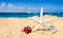 Starfish with gift boxes on the sandy beach Stock Photos