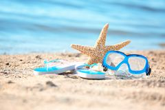Starfish, goggles and flip flops on sand. Beach object royalty free stock image