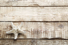 Starfish. On a grey wooden table Stock Photo