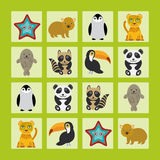 Starfish hamster Penguin leopard seal raccoon panda toucan Finding the Same Picture Educational game for Preschool Children Stock Images