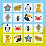 Starfish hamster Penguin leopard seal toucan crab fly Finding the Same Picture Educational game for Preschool Children. Vector. Illustration Stock Images