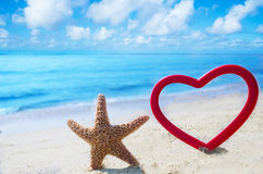 Starfish with heart by the ocean Royalty Free Stock Images