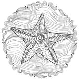 Starfish with high details. Adult antistress coloring page. Black white hand drawn doodle oceanic animal. Sketch for tattoo, poster, print, t-shirt in Royalty Free Stock Photography