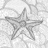 Starfish with high details. Adult antistress coloring page. Black white sea animal. Abstract pattern with oceanic elements for relax coloring for grown ups in Royalty Free Stock Photography