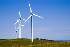Starfish Hill Wind Turbines. Four wind turbines on Starfish Hill, South Australia royalty free stock photo