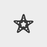 Starfish icon in a flat design in black color. Vector illustration eps10 Stock Photos