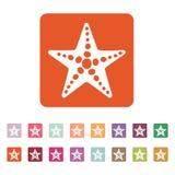 The starfish icon. Ocean symbol. Flat Royalty Free Stock Photo