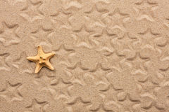 Starfish and its imprints on the sand Royalty Free Stock Photography