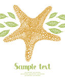 Starfish and leaves card Stock Images