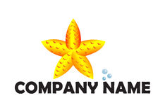 Starfish logo. A logo that shows a starfish and bubbles. It can be used in the area of tourism and travel Royalty Free Stock Photography
