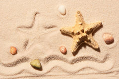 Starfish, mark of wave and sea stones on sand Stock Photos