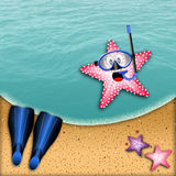 Starfish with mask for snorkeling Stock Photos