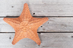 Starfish on an old grey wooden table Royalty Free Stock Photography
