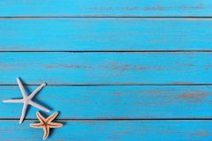 Starfish old weathered tropical blue beach wood deck background. Starfish old weathered blue beach wood deck background royalty free stock photography