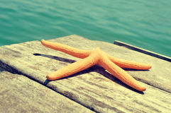 Starfish on an old wooden pier on the sea, with a retro effect Stock Photo