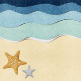 Starfish On Beach Recycled Paper Background Royalty Free Stock Photos
