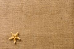 Free Starfish On Burlap Fabric Texture Background/summer Beach Vacation Concept Royalty Free Stock Images - 113955879