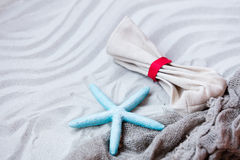 Starfish, pouch and fishnet on the sand Royalty Free Stock Images