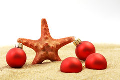 Starfish with red Christmas on sandy beach Stock Photo