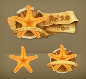 Starfish retro vector icons Royalty Free Stock Image