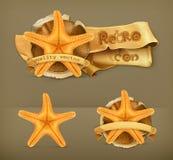 Starfish retro vector icons Royalty Free Stock Image