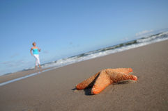 Starfish and running woman on the beach Stock Photography