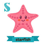 Starfish. S letter. Cute children animal alphabet in vector. Fun. Ny cartoon animals. Vector illustration stock illustration