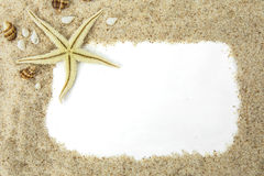 Starfish with sand frame Royalty Free Stock Images