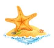 Starfish in the sand, vector illustration Stock Photos