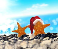 Starfish in santa hat at the seaside Royalty Free Stock Photography