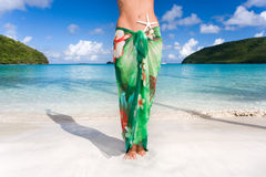 Starfish sarong tropical beach Royalty Free Stock Photos