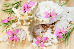 Starfish and Sea Salt with Flowers Stock Image