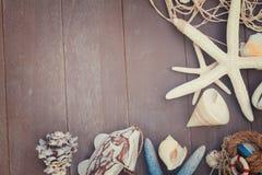 Starfish and sea shells on wooden board Stock Photo