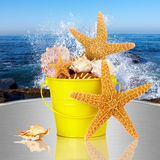 Starfish, Sea Shells In Yellow Bucket Ocean Waves. Day Spa Still-life Wtith Starfish And Sea Shells In Colorful Yellow Beach Bucket On White Glass Table Royalty Free Stock Images