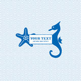 Starfish and seahorse waves background Stock Image