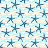 Starfish seamless pattern with on a geometric line background. Tropical star fish pattern with modern style royalty free illustration