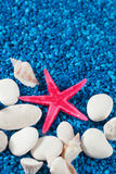 Starfish and seashell on blue sand like water Royalty Free Stock Images