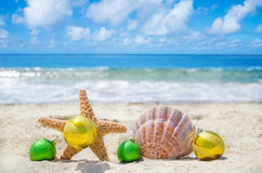 Starfish and seashell with Christmas balls - holiday concept Royalty Free Stock Photography