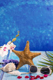 Starfish seashells with hyacinth flower and white orchid Royalty Free Stock Photo