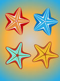 Starfish. Set of four colorful starfish on a yellow-blue background Royalty Free Stock Image