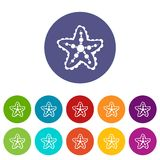 Starfish set icons. In different colors isolated on white background Stock Image