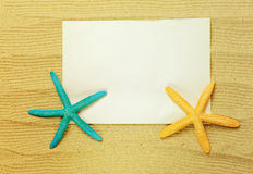 Starfish and shells with frame Royalty Free Stock Images